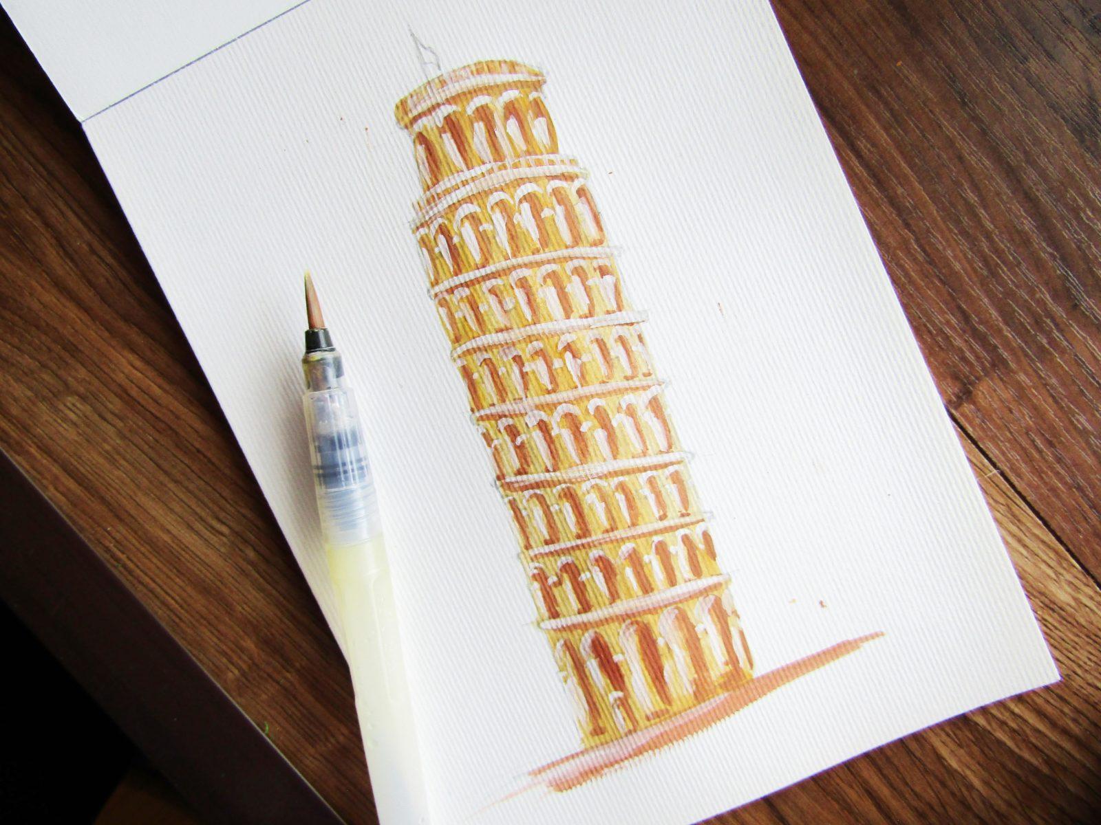 Пизанская башня гуашью - 7