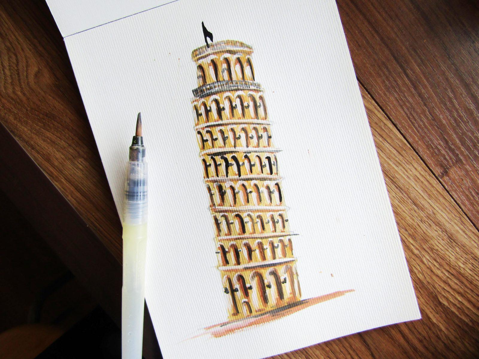 Пизанская башня гуашью - 8