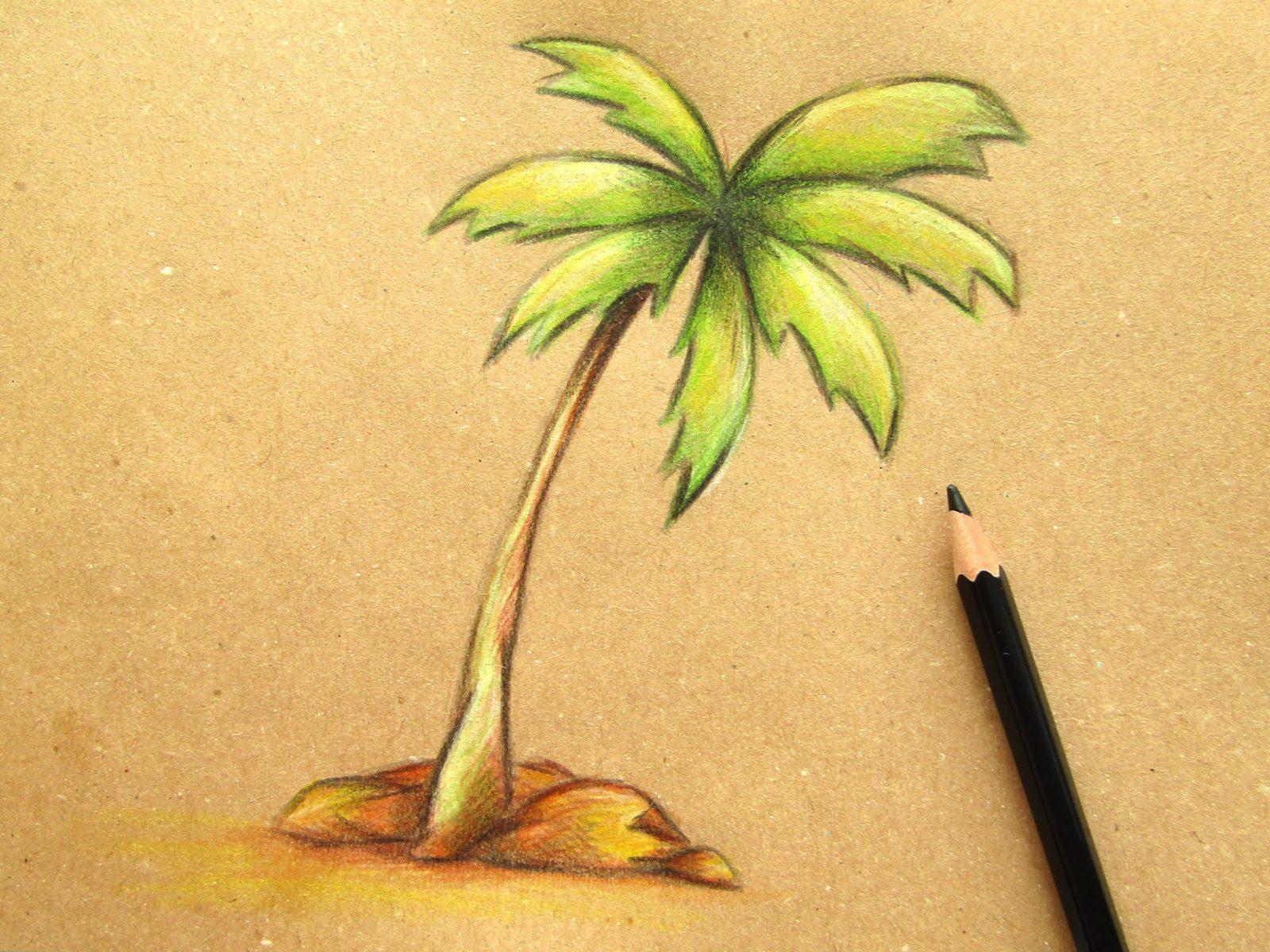 Пальма на крафт-бумаге - 10