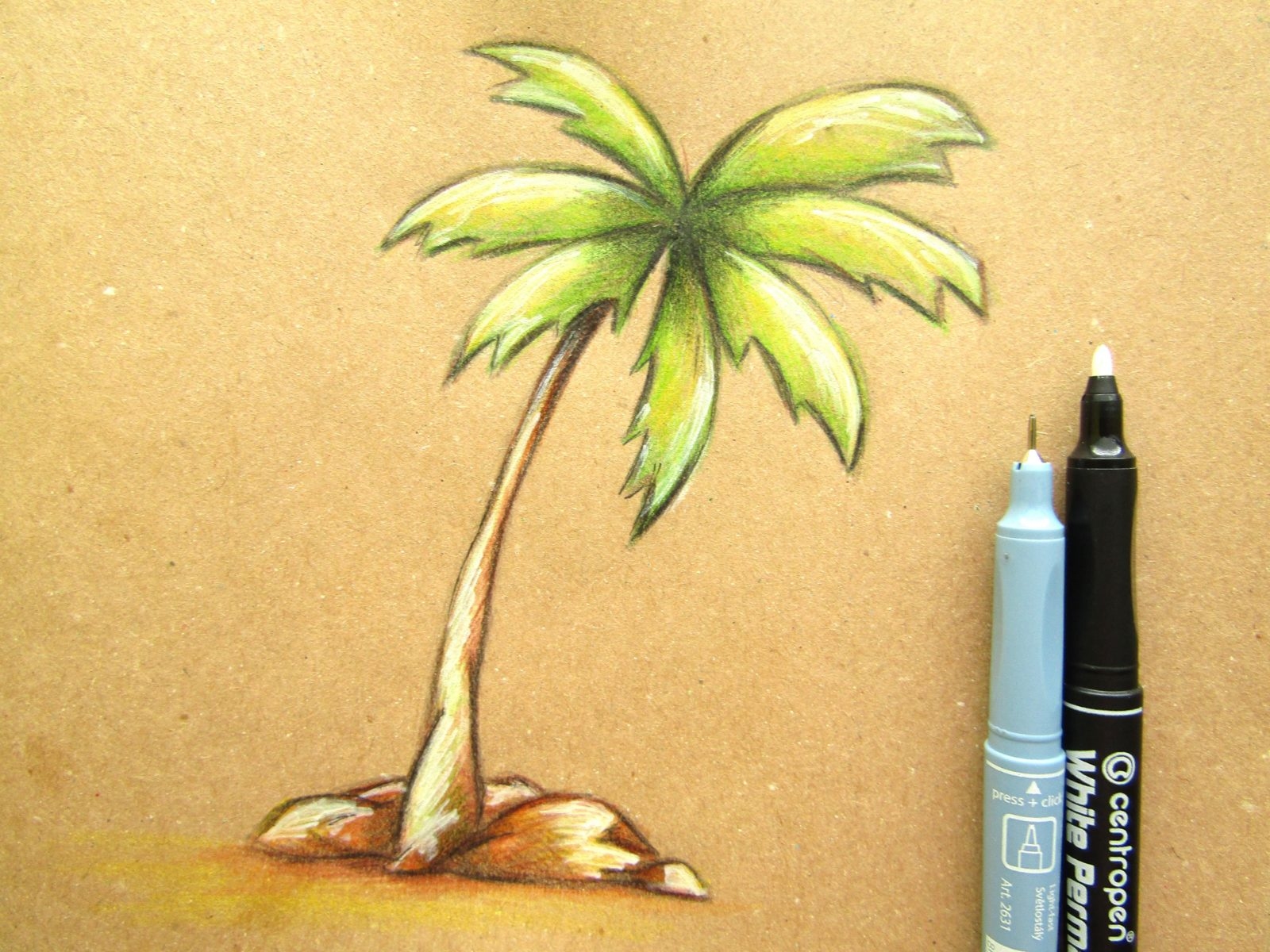 Пальма на крафт-бумаге - 11