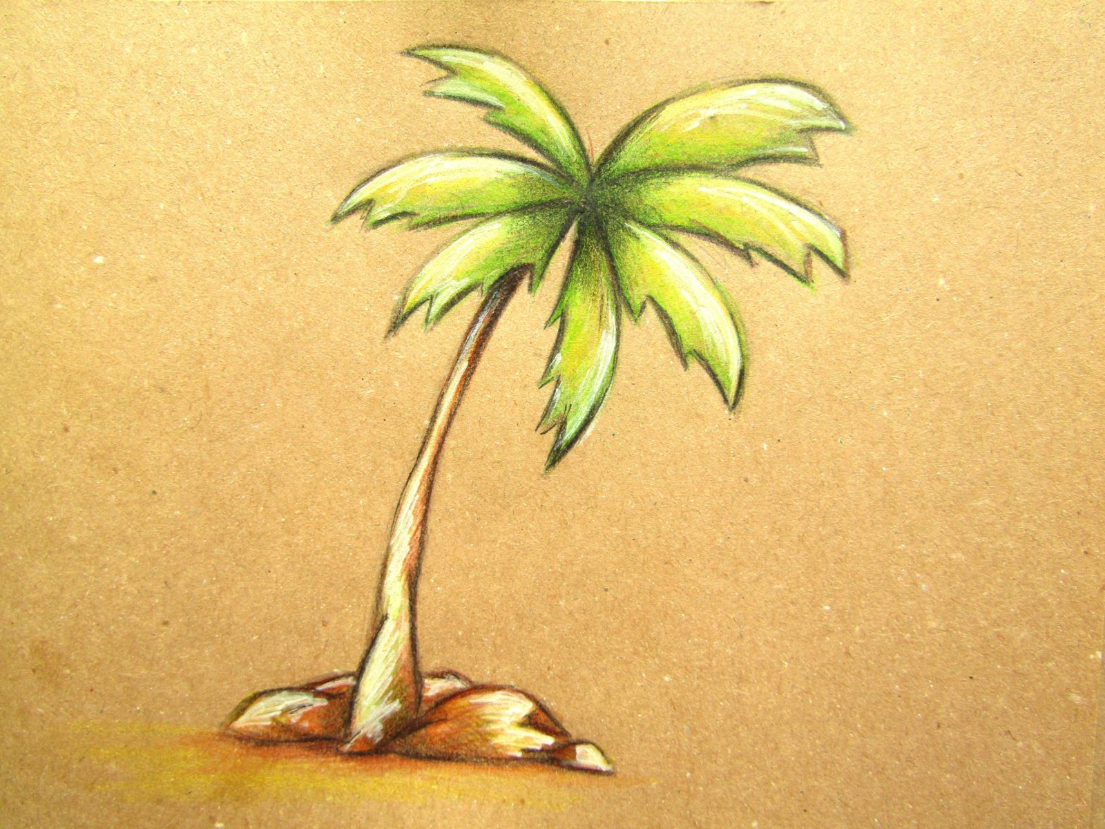 Пальма на крафт-бумаге