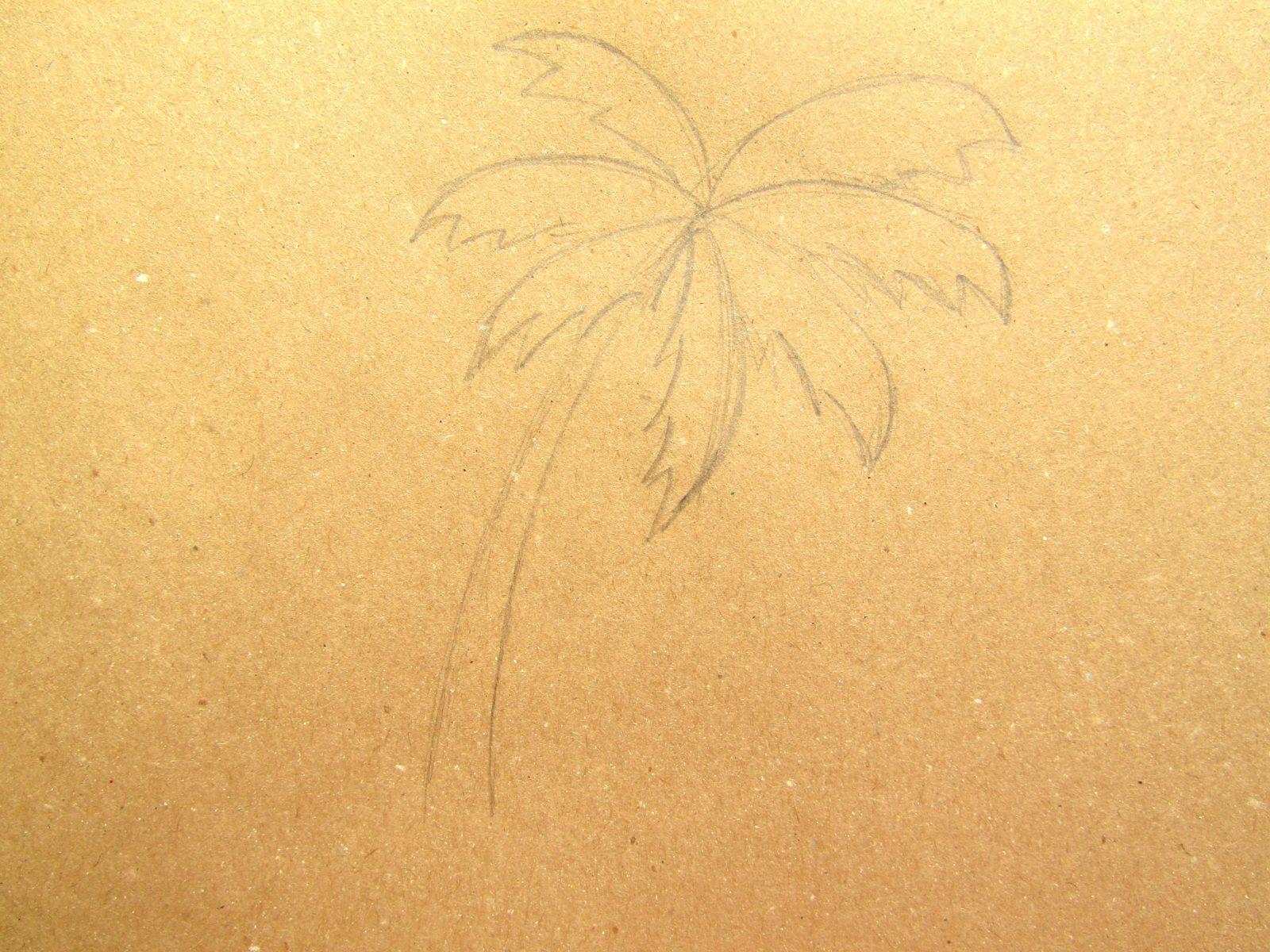 Пальма на крафт-бумаге - 4
