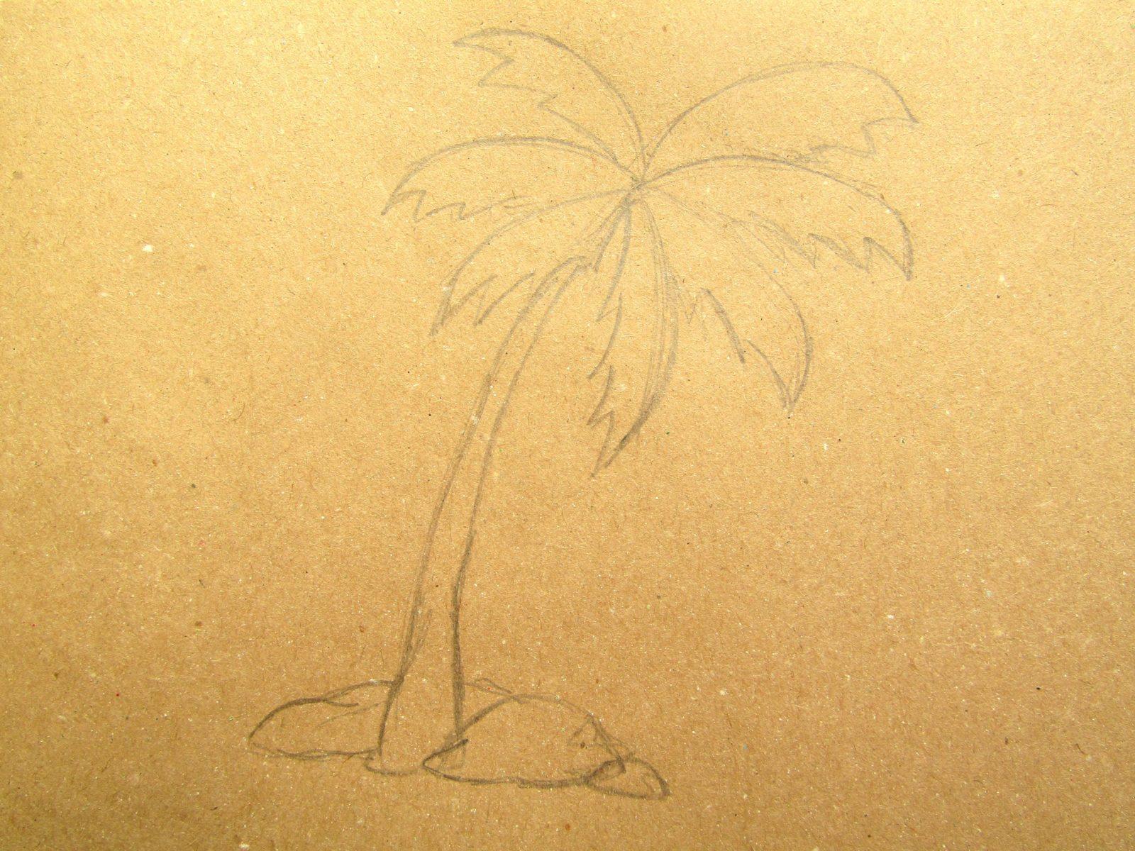 Пальма на крафт-бумаге - 5