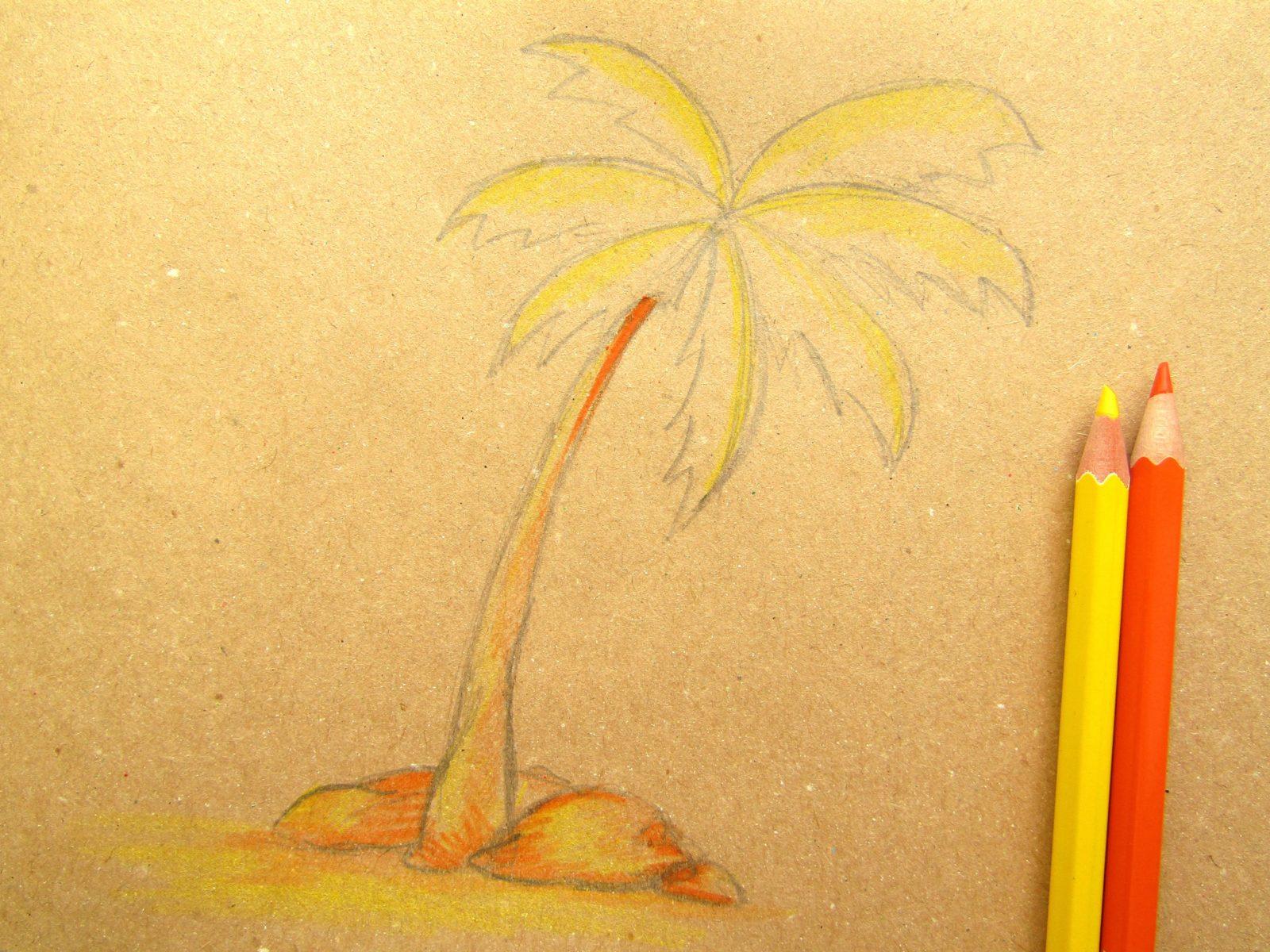 Пальма на крафт-бумаге - 6