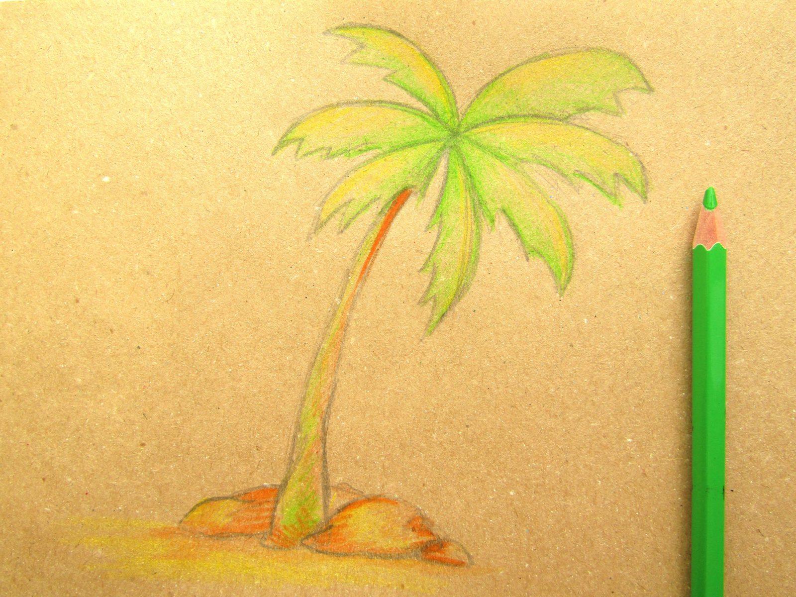 Пальма на крафт-бумаге - 7