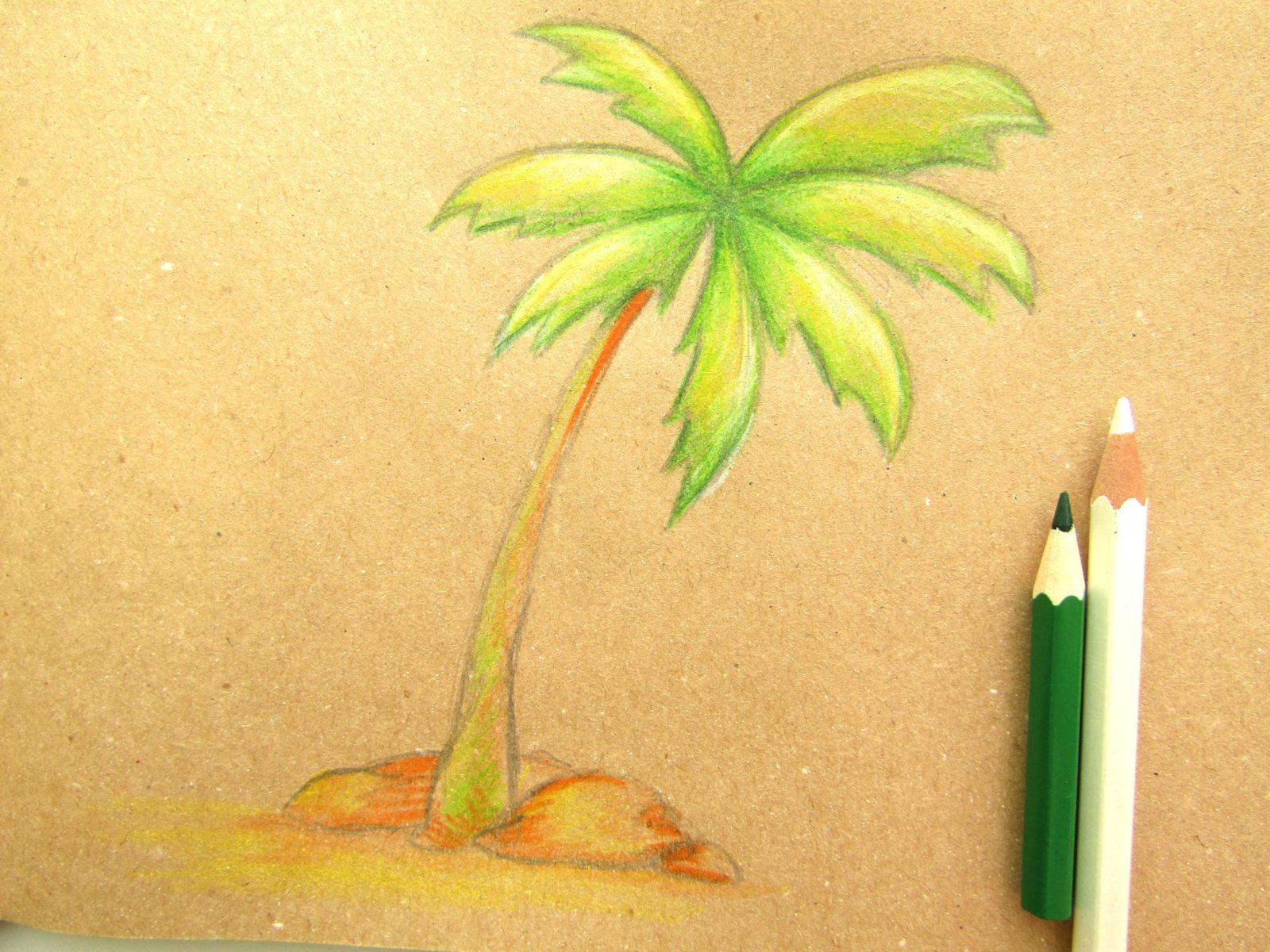 Пальма на крафт-бумаге - 8