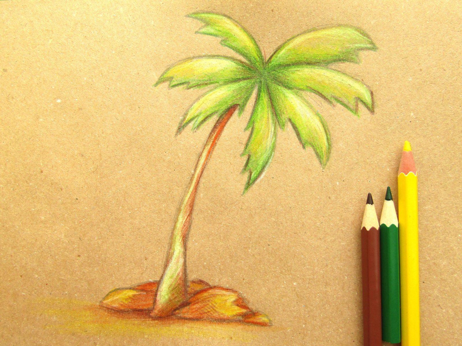 Пальма на крафт-бумаге - 9
